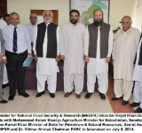 Federal Minister for National Food Security & Research (MNSFR) Sikandar Hayat Khan Bosan in a group photo with Muhammad Aslam Bizenjo Agriculture Minister for Balochistan, Senator Mir Hasil Bizenjo, Jam Kamal Khan Minister of State for Petroleum & Natural Resources, Seerat Asghar Secretary NFSR and Dr. Iftikhar Ahmad Chairman PARC in Islamabad on July 8, 2014.