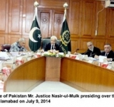Hon'ble Chief Justice of Pakistan Mr. Justice Nasir-ul-Mulk presiding over the Full Court Meeting in Supreme Court, Islamabad on July 9, 2014