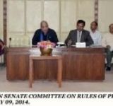 SENATOR COL ® SYED TAHIR HUSSAIN MASHHADI, CHAIRMAN SENATE COMMITTEE ON RULES OF PROCEDURE AND PRIVILEGES PRESIDING OVER A MEETING OF THE COMMITTEE AT PARLIAMENT HOUSE ISLAMABAD ON JULY 09, 2014.