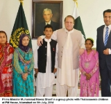 Prime Minister Muhammad Nawaz Sharif in a group photo with Thalassaemia children who called on the PM at PM House, Islamabad on 9th July, 2014