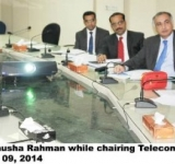 Minister of State for IT Mrs. Anusha Rahman while chairing Telecom Policy Review meeting here at MOITT dated 09.7.2014.