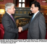Speaker of the House Of Commons RT Hon John Bercow MP shaking hand with Speaker National Assembly , Sardar Ayaz Sadiq at the House of Commons in London on July 8, 201
