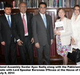 Speaker National Assembly Sardar Ayaz Sadiq along with the Pakistani delegation in a group photo with Lord Speaker Baroness D'Souza at the House of Lords in London on July 9, 2014